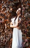 Beautiful young girl in white dress standing among colorful leaves Stock Images