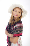 Beautiful young girl with a white hat Stock Image