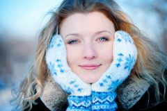 Beautiful young girl in winter day Royalty Free Stock Image