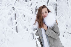 Beautiful young girl in a winter forest Royalty Free Stock Photography
