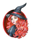 Beautiful young girl - Witch. Halloween costume. Watercolor illustration Royalty Free Stock Photos