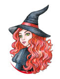 Beautiful young girl - Witch. Halloween costume. Watercolor illustration Stock Photography