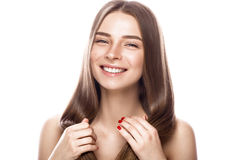 Free Beautiful Young Girl With A Light Natural Make-up And Perfect Skin. Beauty Face. Royalty Free Stock Image - 93938916