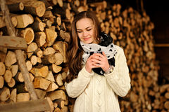 Free Beautiful Young Girl With Cup Of Warm Drink In The Cold Season Royalty Free Stock Photos - 64937978
