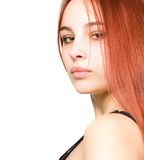 Beautiful Young Girl With Red Hair And Green Eyes Royalty Free Stock Photography