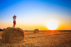 Beautiful Young Girl Woman In Dress Staying On Haystack Royalty Free Stock Photos