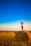 Beautiful Young Girl Woman In Dress Staying On Haystack Stock Image