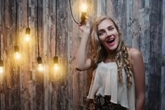 Crazy idea lamp woman stock photos