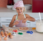 Beautiful Young Girl Working In The Kitchen Stock Photography