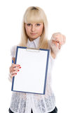Beautiful young girl with a worksheet Stock Image