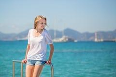 Beautiful young girl on yacht Stock Photo