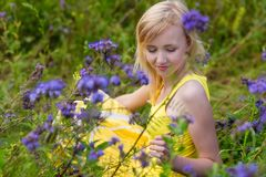 Girl in purple flowers outdoors in summer Royalty Free Stock Image