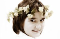Beautiful young girl with yellow flowers Royalty Free Stock Photos