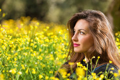 Beautiful young girl among yellow flowers Stock Photography