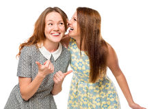 Beautiful young girlfriends gossiping. Over white background stock images