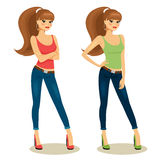 Beautiful young girls. In casual clothes  vector illustration on white background Stock Image