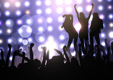 Beautiful young girls on the club scene. The crowd of people watching a performance by three girls in the club or on the concert platform. There is a place for royalty free illustration