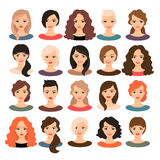 Beautiful young girls portrait set. Woman avatar set vector illustration. Beautiful young girls portrait with different hair style isolated on white background stock illustration