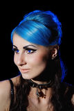 Beautiful young gothic woman with blue hairs Stock Image