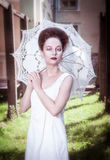 Beautiful young gothic woman in white shirt with umbrella Royalty Free Stock Photos