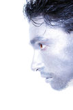 Beautiful young guy with silver makeup Stock Images