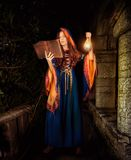 Beautiful young halloween witch girl casting magic. Beautiful young halloween witch wearing vintage gothic dress with hood reading magical book of spells in old stock images