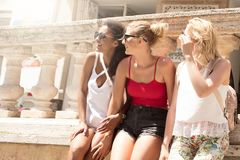 Group of smiling beautiful girls on summer vacation. stock image