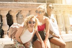 Group of smiling beautiful girls on summer vacation. stock photography