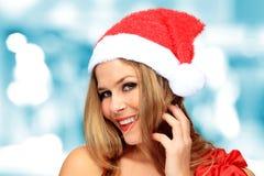 Beautiful Young Happy Christmas Woman Stock Photo