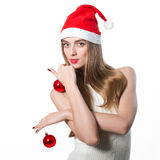 Beautiful Young Happy Christmas Woman. Isolated on white Royalty Free Stock Photos