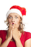 Beautiful Young Happy Christmas Woman over white Royalty Free Stock Photography