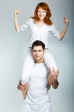 Beautiful young happy couple. Portrait of a beautiful young happy couple Stock Images