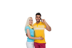 Beautiful Young Happy Couple Love Smiling Embracing, Hispanic Man Cell Smart Phone Call Talking Woman Smile Royalty Free Stock Photos