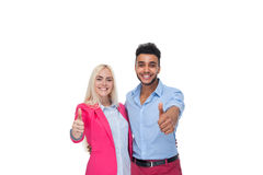 Beautiful Young Happy Couple Love Smiling Embracing, Hispanic Man Woman Holding Thumb Up Gesture Royalty Free Stock Images