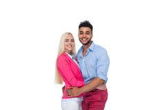 Beautiful Young Happy Couple Love Smiling Embracing, Hispanic Man Woman Smile. Isolated Over White Background Royalty Free Stock Photos