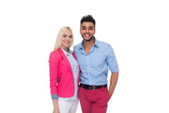 Beautiful Young Happy Couple Love Smiling Embracing, Hispanic Man Woman Smile. Isolated Over White Background Royalty Free Stock Photo
