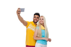Beautiful Young Happy Couple Love Smiling Embracing Taking Selfie Photo On Cell Smart Phone, Hispanic Man Woman Royalty Free Stock Photos