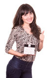 Beautiful young happy girl holding present wrapped in a box Stock Photography