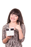 Beautiful young happy girl holding present wrapped in a box Stock Photos