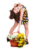 Beautiful young happy girl with spring flower. Stock Photography