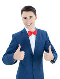 Beautiful young happy man. Isolated on white background Royalty Free Stock Image