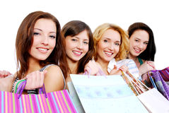 Beautiful young happy people with gift Stock Photography