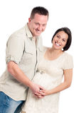 Beautiful young happy pregnant couple Stock Photo
