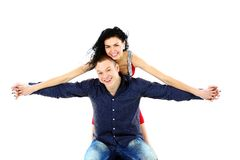 Beautiful young happy smiling couple Royalty Free Stock Images