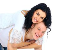 Beautiful young happy smiling couple Stock Images