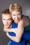 Beautiful young happy smiling couple. isolated Royalty Free Stock Photography