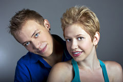 Beautiful young happy smiling couple. isolated Royalty Free Stock Photo