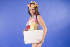 Beautiful young hawaiian tropical woman isolated i Royalty Free Stock Images
