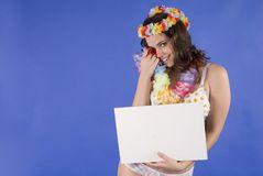 Beautiful young hawaiian woman isolated Royalty Free Stock Photography