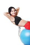 Woman with pilates exercise ball. Stock Image